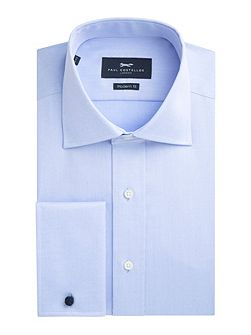 Blue non-iron single cuff shirt
