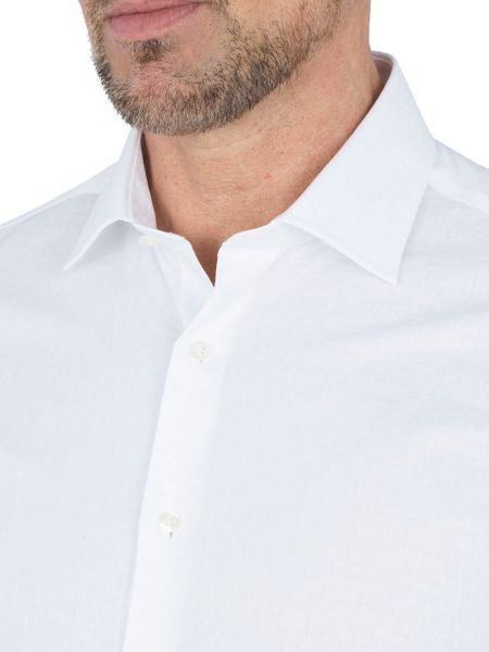 Paul Costelloe Slim Fit White Floral Single Cuff Shirt