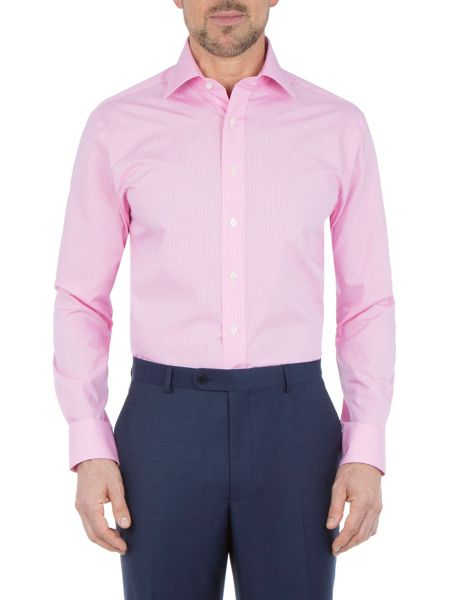 Paul Costelloe Modern Fit Mini Pink Puppytooth Shirt