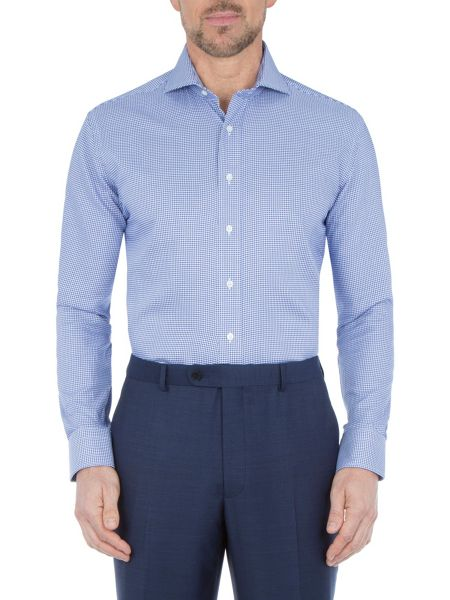 Paul Costelloe Modern Fit Navy Puppytooth Shirt