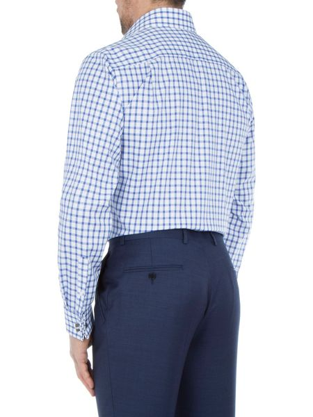 Paul Costelloe Modern Fit Large Blue Check Shirt