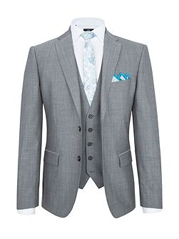Modern Fit Grey Mohair Suit Jacket