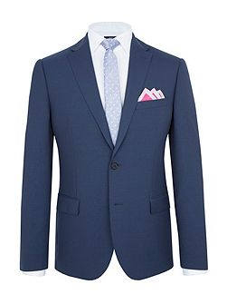 Slim Fit Blue Plain Mohair Suit Jacket