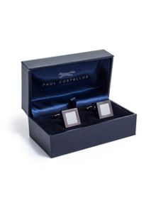 Paul Costelloe Grey square textured weave cufflinks