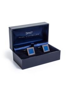 Paul Costelloe Blue square textured weave cufflinks