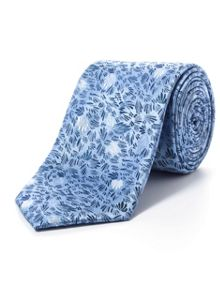 Paul Costelloe Blue abstract leaf tie