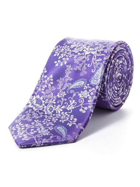 Paul Costelloe Purple floral paisley tie