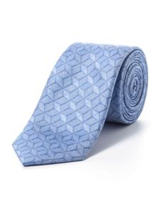Paul Costelloe Skinny blue hexagonal geometric tie