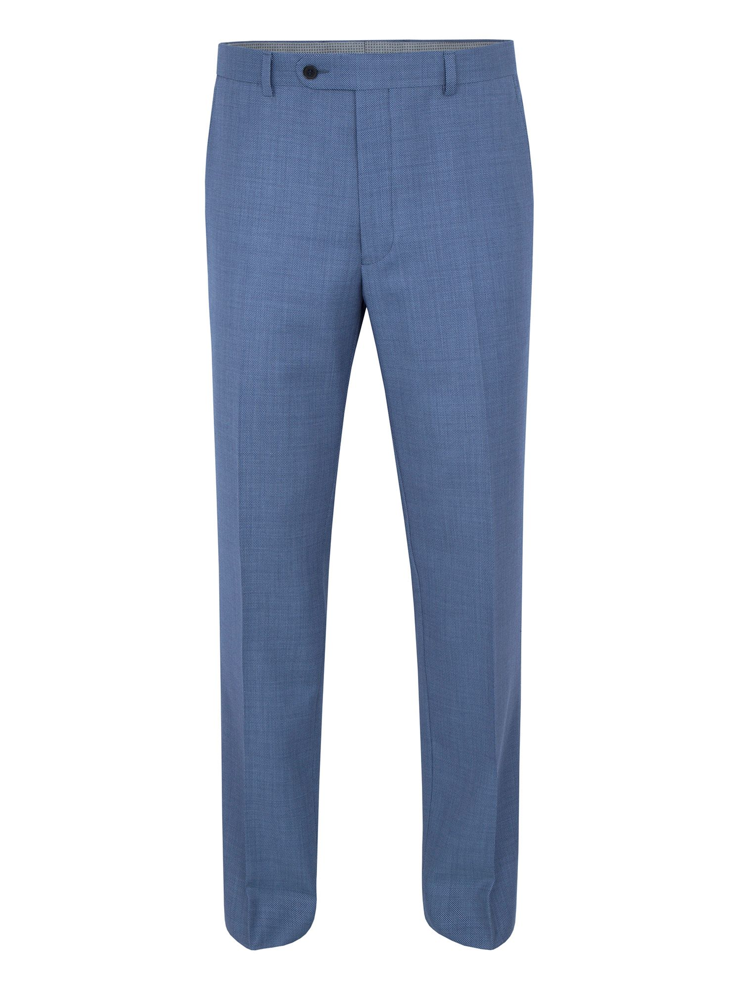 Men's Paul Costelloe Modern fit blue birdseye suit trousers, Light Blue