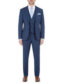 Paul Costelloe Slim Fit Blue Micro Check Suit Jacket