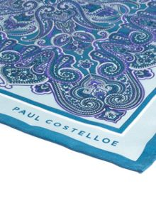 Paul Costelloe Green ornate paisley pocket square