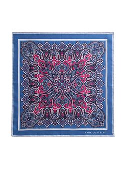 Blue ornate paisley pocket square