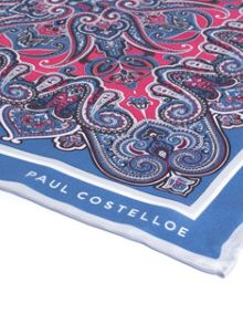 Paul Costelloe Blue ornate paisley pocket square