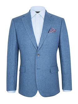 Modern Fit Light Blue Linen Jacket