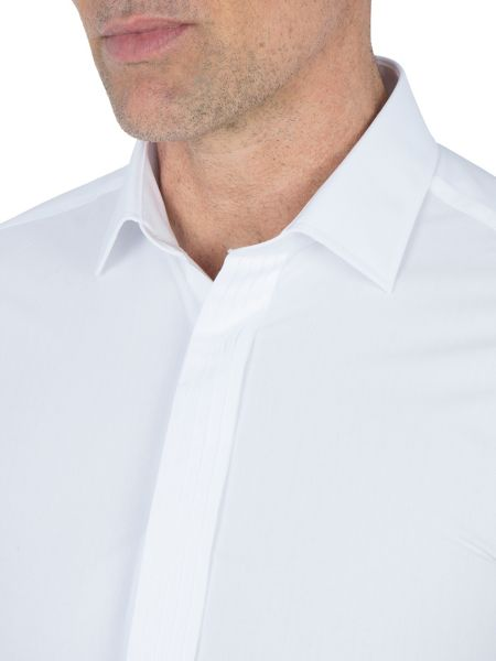 Paul Costelloe White Plain Poplin Double Cuff Shirt