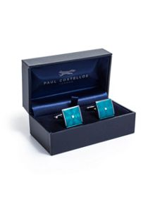 Paul Costelloe Teal Square Silver Centre Cufflinks