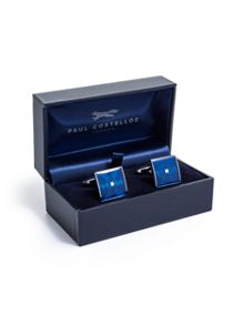 Paul Costelloe Blue Square Silver Centre Cufflinks