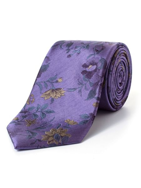 Paul Costelloe Purple Climbing Rose Silk Tie