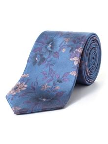 Paul Costelloe Blue Climbing Rose Silk Tie