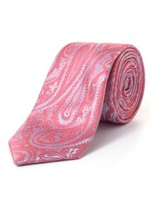 Paul Costelloe Skinny Peach Elongated Paisley Print Tie
