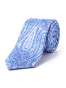 Paul Costelloe Skinny Blue Elongated Paisley Print Tie