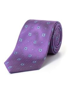 Paul Costelloe Purple Ornate Geometric Pattern Tie