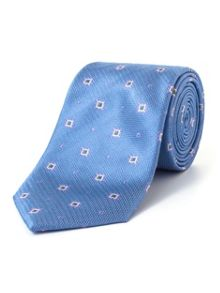 Paul Costelloe Blue Ornate Geometric Pattern Tie