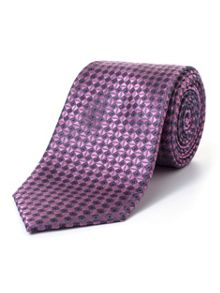 Paul Costelloe Pink Diagonal Geometric Pattern Tie