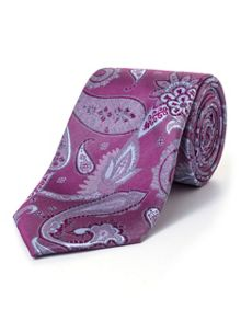 Paul Costelloe Purple Thistle Paisley Tie