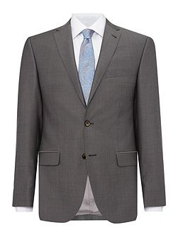 Slim fit light grey mini birdseye suit