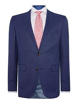 Slim fit blue micro check jacket
