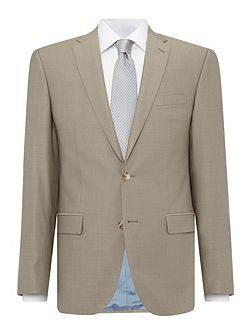 Slim fit fawn mini birdseye suit