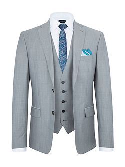 Slim Fit Grey Melange Suit Jacket