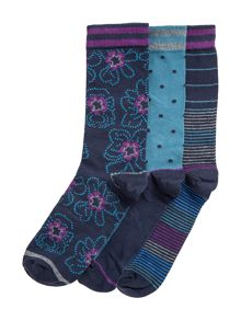 Paul Costelloe Sterry Floral, Spot And Stripe Socks