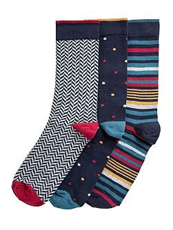 Savoy Herringbone, Spot And Stripe Socks