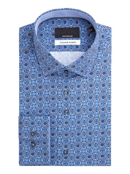 Baumler Tim Geometric Print Cotton Shirt
