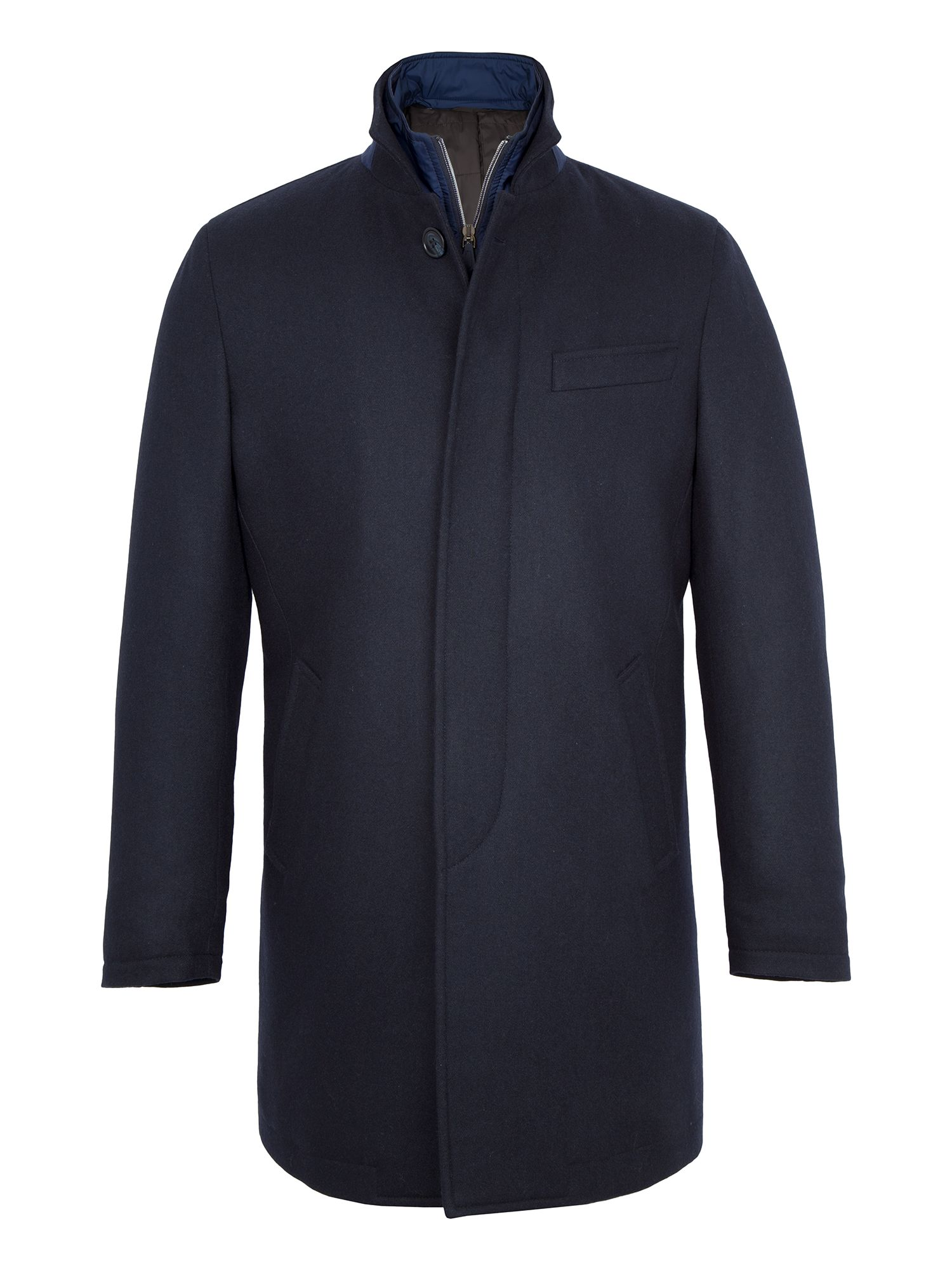 Mens Paul Costelloe Edward Quilted WoolRich Coat Navy