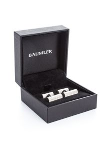 Baumler Bruno Silver Plated Barrel Cufflinks