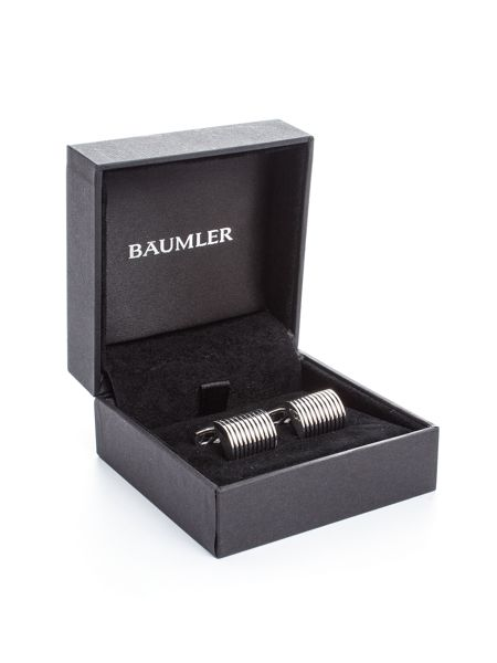 Baumler Dirk Silver Plated Striped Cufflink