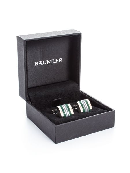 Baumler Theo Striped Mother Of Pearl Cufflinks