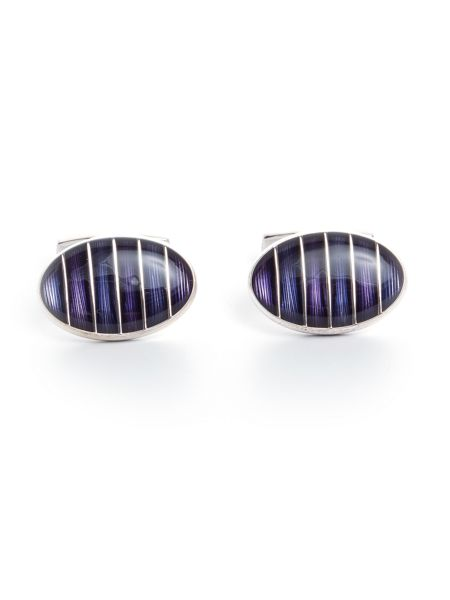 Baumler Berti Silver Plated Striped Cufflinks