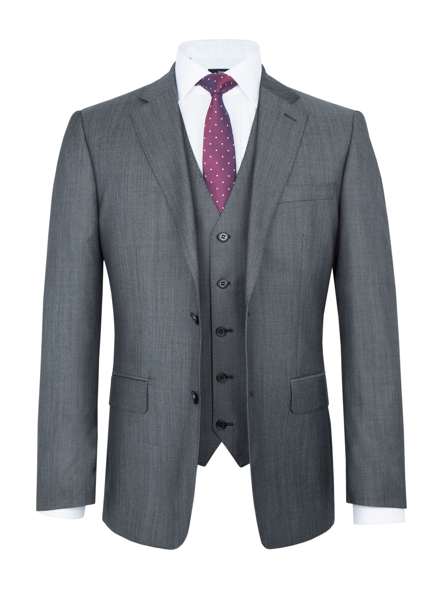 3 Piece Suits. Take your tailoring up a notch and add a waistcoat to create a 3-piece suit. 3-piece suits are not only a stylish upgrade from the classic suit, but also provide additional formality, perfect for special occasions.