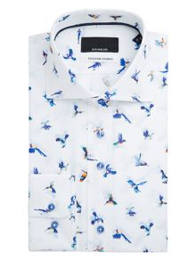 Baumler Saale Bird Print Cotton Shirt