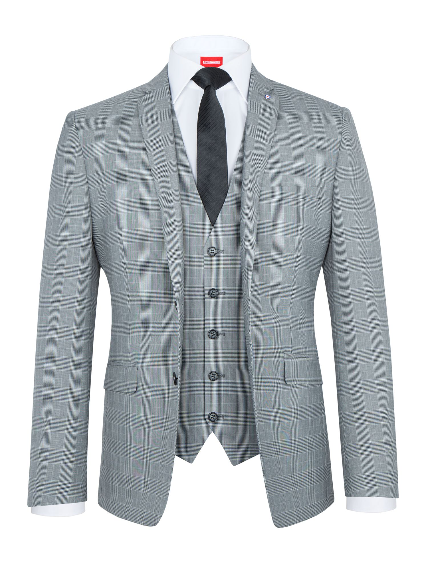 Men's Lambretta Check Slim-Fit Three Piece Suit, Grey