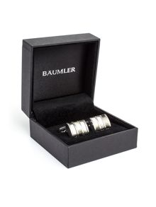 Baumler Arndt Striped Silver Plated Cufflinks