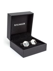 Baumler Mario Hexagonal Silver Plated Cufflinks