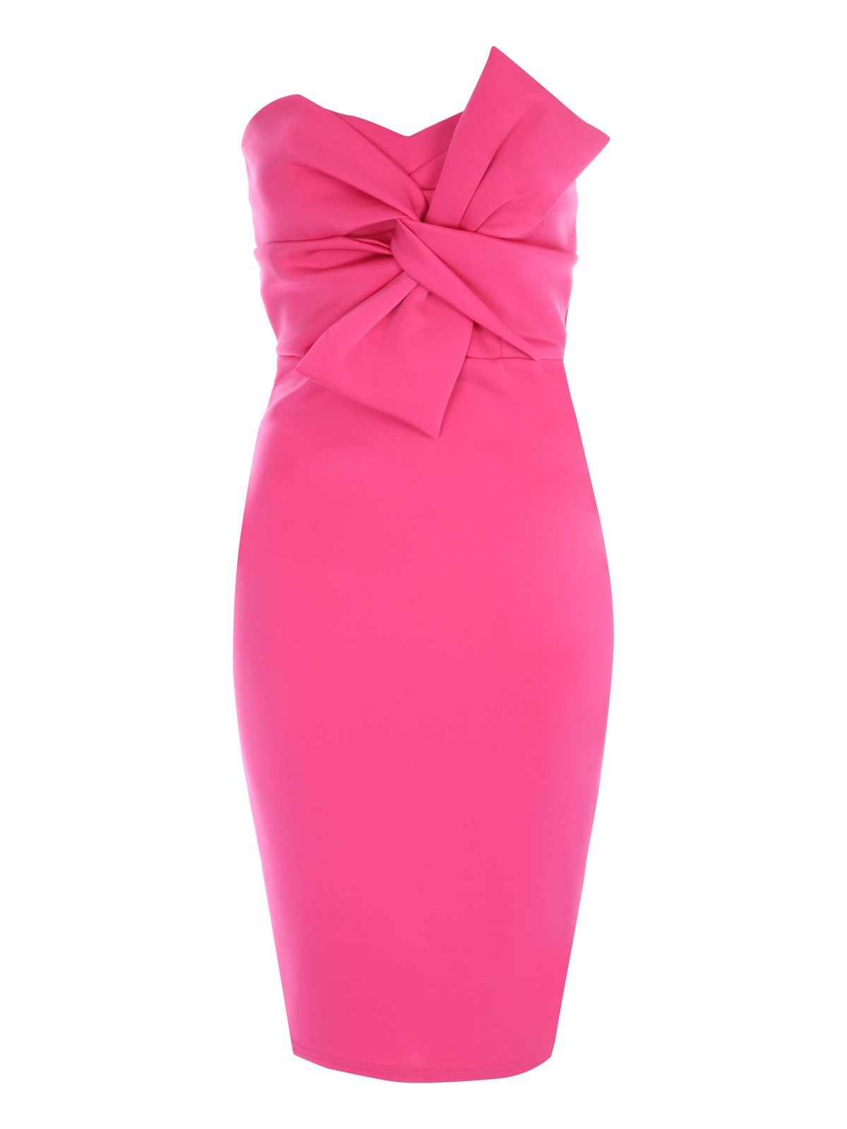 Jane Norman Bow Front Bandeau Dress, Hot Pink