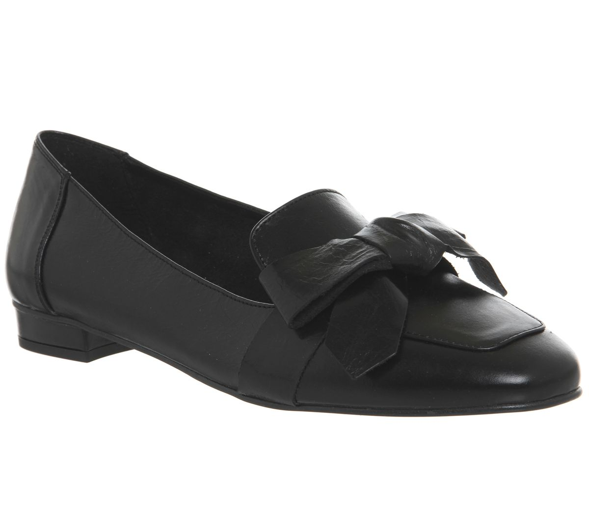 Office Friend Square Toe Bow Loafers, Black Leather