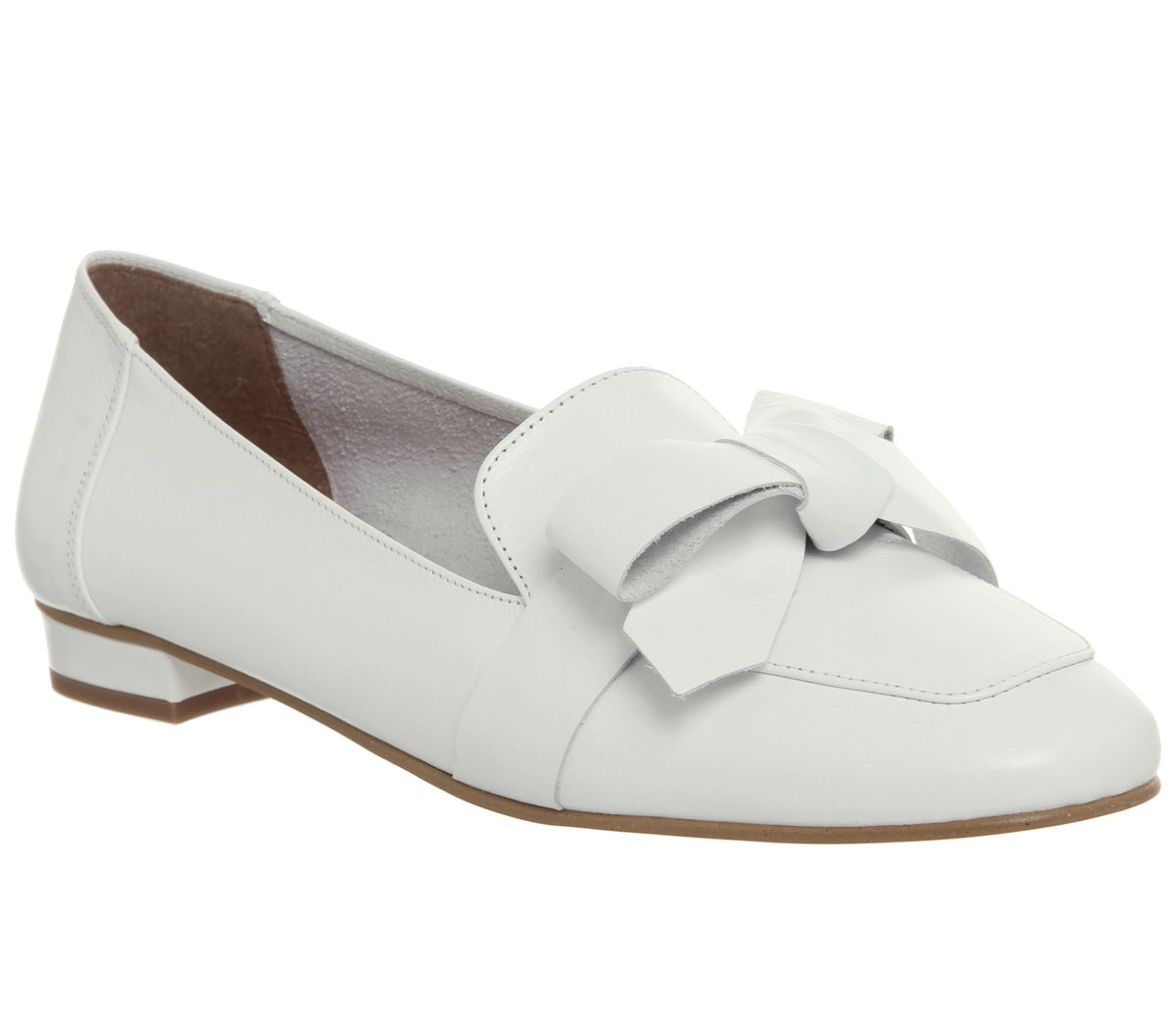Office Friend Square Toe Bow Loafers, White