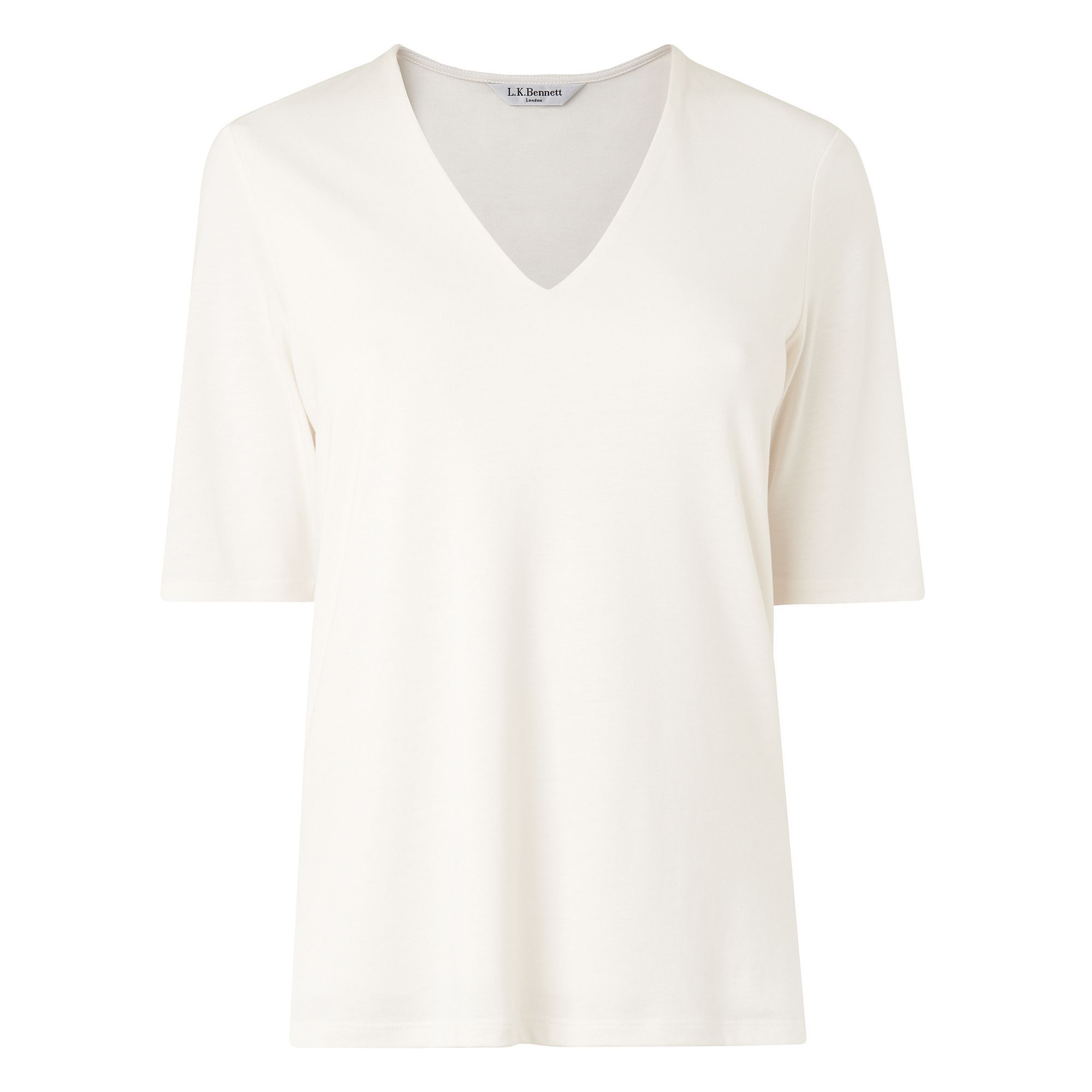 L.K. Bennett Orla Lyocell Cotton Jersey Tops, Cream